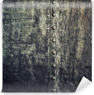 Zelfklevend Fotobehang Grunge zwarte metalen plaat met klinknagels schroeven achtergrond textuur