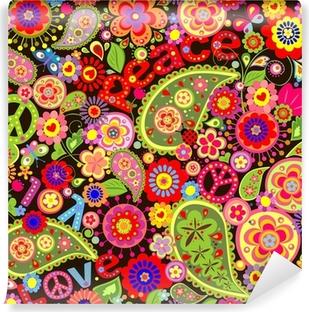 Zelfklevend Fotobehang Hippie behang met kleurrijke lente bloemen