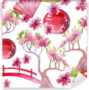 Zelfklevend Fotobehang Japanse naadloze patroon