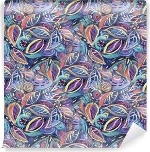Zelfklevend Fotobehang Kleurrijke achtergrond met bladeren, acryl schilderij. abstracte gebladerte naadloze patroon achtergrond voor uw ontwerp wallpapers, opvulpatronen, webpagina-achtergronden, oppervlakte texturen.