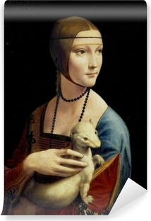 Zelfklevend Fotobehang Leonardo da Vinci - De dame met de hermelijn