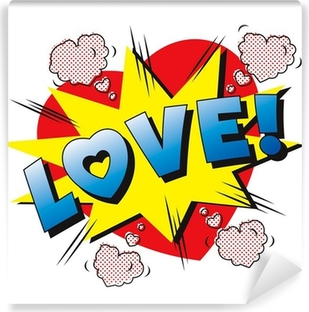 Zelfklevend Fotobehang Liefde cartoon explosie. Falling in love. Liefde vuurwerk.