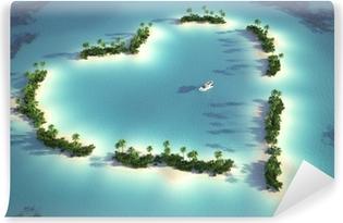 Zelfklevend Fotobehang Luchtfoto van hartvormige eiland