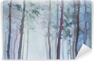 Zelfklevend Fotobehang Mistig bos aquarel achtergrond