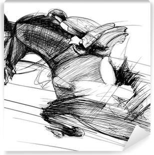 Zelfklevend Fotobehang Paard en jockey