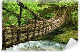 Zelfklevend Fotobehang Pont de lianen et bambou Kazura-bashi à Oku Iya, Shikoku