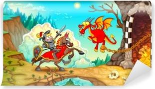 Zelfklevend Fotobehang Ridder die de draak met schat in een berglandschap bestrijdt