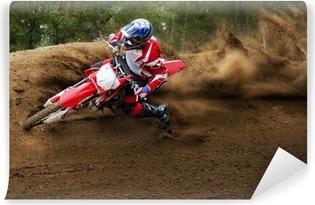 Zelfklevend Fotobehang Ruiter rijden in de motocrossras