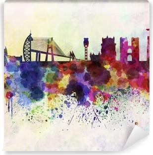 Zelfklevend Fotobehang Skyline van Lissabon in aquarel achtergrond