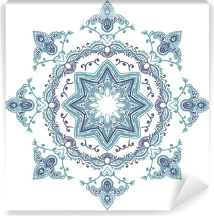 Zelfklevend Fotobehang Stencil Mandala Indische Ontwerp