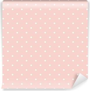 Zelfklevend Fotobehang Stippen op baby roze achtergrond naadloze vector patroon