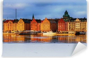 Zelfklevend Fotobehang Stockholm Kungsholmen en Riddarfjarden in de winter.