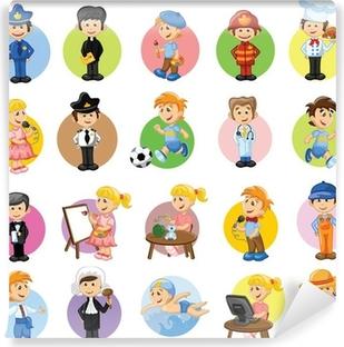 Zelfklevend Fotobehang Stripfiguren van verschillende beroepen