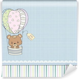 Zelfklevend Fotobehang Tere baby jongen douche-kaart met teddybeer