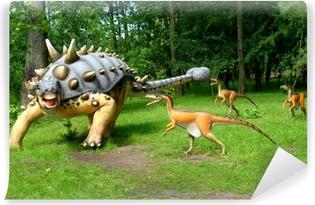 Zelfklevend Fotobehang Troodon aanvallende Euoplocephalus, dinosaurussen serie