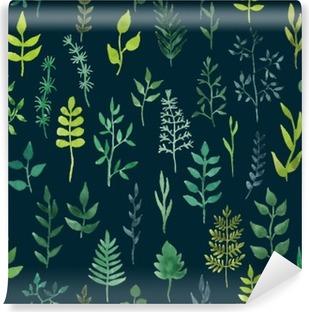 Zelfklevend Fotobehang Vector groene aquarel bloemen naadloos patroon.