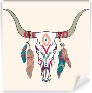 Zelfklevend Fotobehang Vector illustratie van de stier schedel met veren