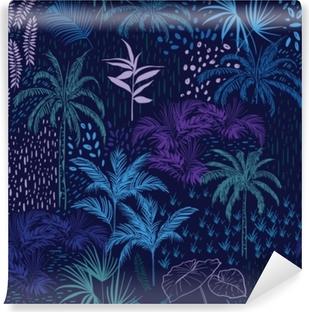 Zelfklevend Fotobehang Vector naadloze patroon van monotone blauwe bos voor zomer tropische prints gemengd met kleurrijke