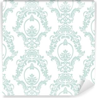 Zelfklevend Fotobehang Vector vintage damast patroon ornament keizerlijke stijl. sierlijk bloemenelement voor stof, textiel, ontwerp, trouwkaarten, wenskaarten, behang. opaal blauwe kleur