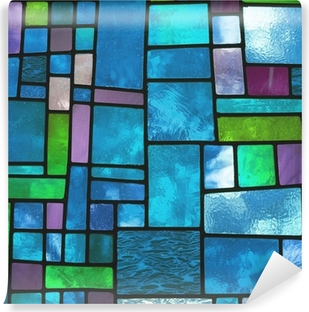 Zelfklevend Fotobehang Veelkleurige gebrandschilderd blauwe glazen venster, vierkant formaat