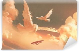 Zelfklevend Fotobehang Vogels gevormde wolk in zonsonderganghemel, illustratie het schilderen