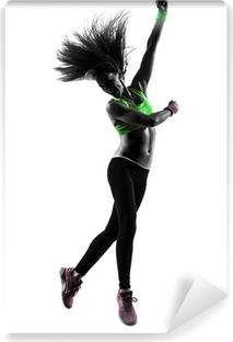 Zelfklevend Fotobehang Vrouw uitoefening fitness zumba dansen springen silhouet