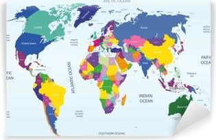 Zelfklevend Fotobehang Wereld geografische en politieke kaart