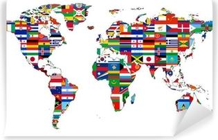 Zelfklevend Fotobehang Wereldkaart met vlaggen