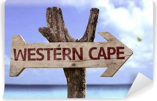 Zelfklevend Fotobehang Western Cape houten bord met een strand op de achtergrond