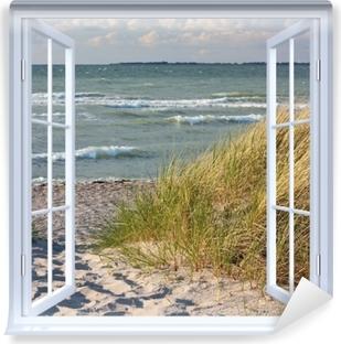 Zelfklevend Fotobehang White open raam - Beach