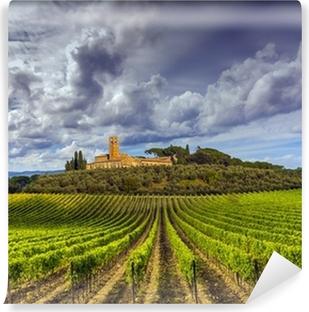 Zelfklevend Fotobehang Wijngaarden in de Chianti regio Toscane, Italië
