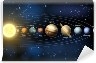 Zelfklevend Fotobehang Zon en de planeten van het zonnestelsel