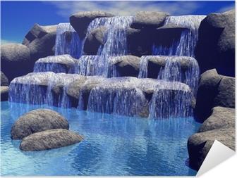 Zelfklevende Poster 3d waterval