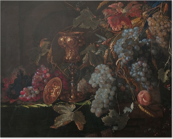 Zelfklevende Poster Abraham Mignon - Grape and silverware cup on an entablature - Reproducties