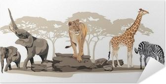 Zelfklevende Poster Afrikaanse dieren