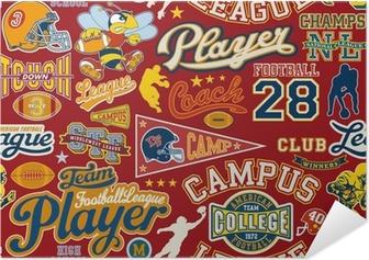 Zelfklevende Poster American football naadloze vector patroon
