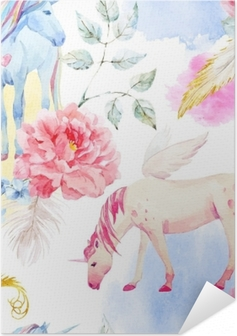 Zelfklevende Poster Aquarel vector eenhoorn en pegasus patroon