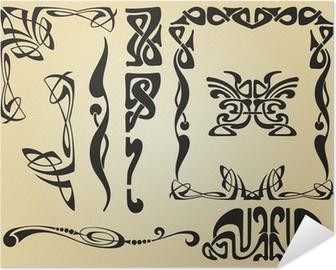 Zelfklevende Poster Art Nouveau ontwerp kader en elementen