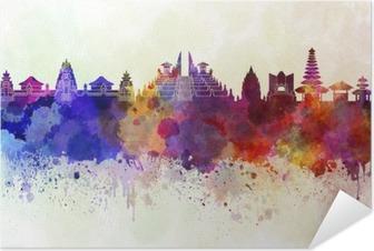 Zelfklevende Poster Bali skyline in aquarel achtergrond