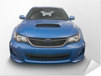 Zelfklevende Poster Blauwe sportwagen