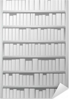 Zelfklevende Poster Boekenkast met witte boeken