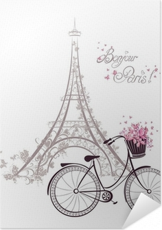 Zelfklevende Poster Bonjour Parijs tekst met Eiffeltoren en fiets