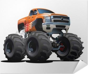 Zelfklevende Poster Cartoon Monster Truck