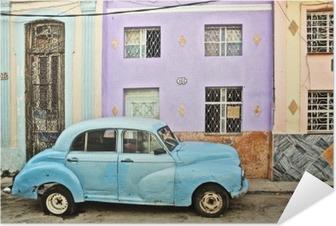 Zelfklevende Poster Cuba, La Habana, Opgesplitste Vintage Car