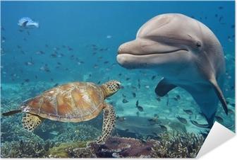 Zelfklevende Poster Dolfijnen en schildpad onderwater op ertsader