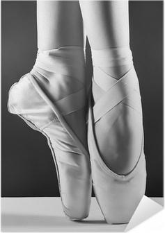 Zelfklevende Poster Een foto van pointes ballerina's op zwarte achtergrond
