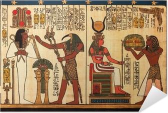 Zelfklevende Poster Egyptische papyrus met antieke hiërogliefen
