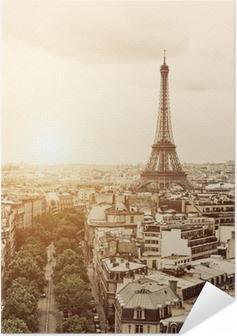 Zelfklevende Poster Eiffel van de Arc de Triomphe