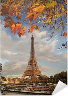 Zelfklevende Poster Eiffeltoren met herfstbladeren in Parijs, Frankrijk