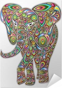 Zelfklevende Poster Elephant Psychedelic Pop Art Design op Witte